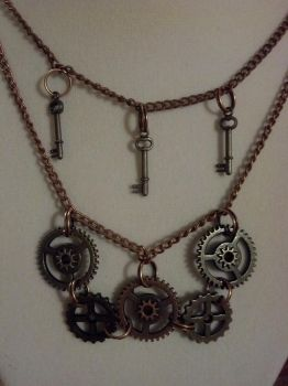 Steampunk Gear and Mini Key Necklace Closeup by bookerboots