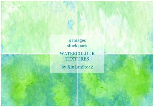 Green Watercolour on Rough Paper - Texture Pack by XiuLanStock