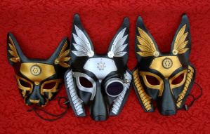 Industrial Egyptian Mask Trio by merimask