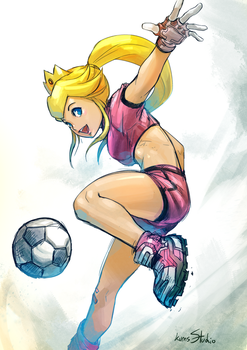 Princess Peach play Football by Kumsmkii