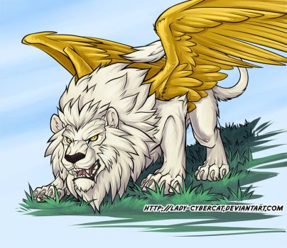 Winged White Lion by lady-cybercat