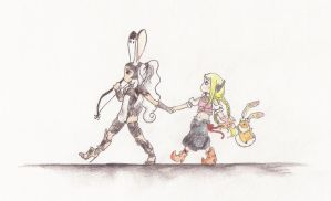 Big bunny+girl+little bunny by Rogue-chan