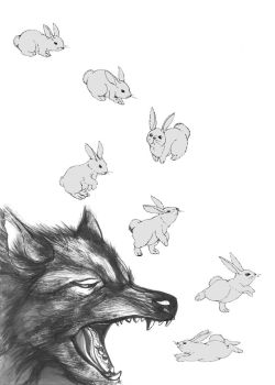 Wolf and Rabbit by Poipoire