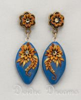 Art Deco Golden Flower Earrings Polymer Clay by DeidreDreams