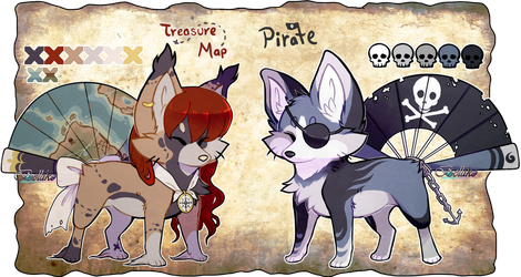 Treasure Map and Pirate Foxfan  CLOSED by Belliko-art