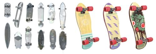 skateboard thumbnails and painting by Chiara-Maria