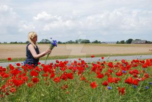 Picking Cornflowers by theLindah