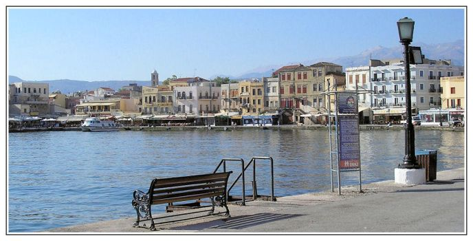Crete: Chania Harbour in Sun by Jhez