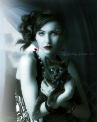Lady and the cat by CindysArt