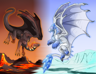 Flight Rising: Fire and Ice by Natsuakai