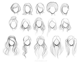 Character Hair Reference Sheet by GabrielleBrickey