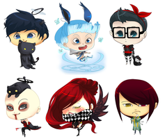 Chibi Commissions 4 by SimplyKaren