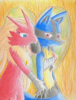 Blaziken and Lucario by Dogwhitesector