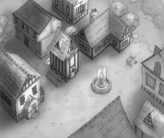 Tudor Village - greyscale by ThermalFaerie