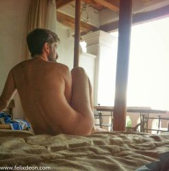 Taxco Hotel Male Nude Sitting on Bed 2 by TheMaleNudeStock