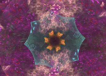 teal yellow purple fractal fun by TanithLipsky