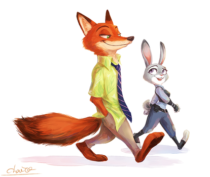 Judy Hopps and Nick Wilde by chacckco