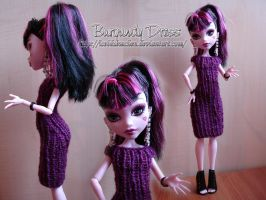 Burgundy Dress for Draculaura by IceBluemchen