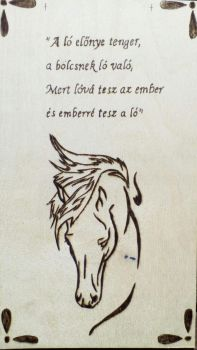 New pyrography work with quote-horse by TamaraFaith