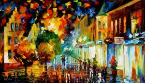 Night Attraction by Leonid Afremov by Leonidafremov
