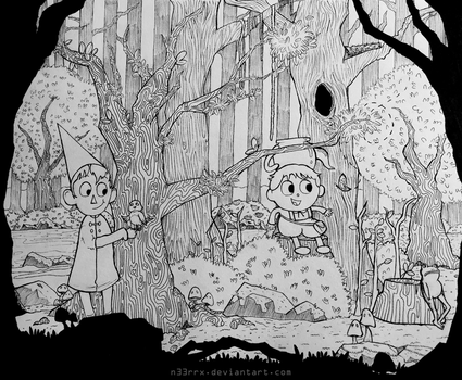 Over the Garden Wall Ink Drawing (UPDATED) by n33rrx