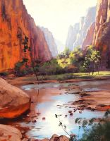 Zion Canyon River by artsaus
