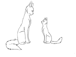 Cat Lineart - Mentor and Apprentice by aliice-in-neverland