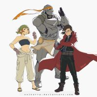 Pidge Rockbell, Shiro Elric and Hunk Elric by SolKorra