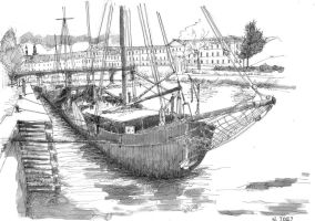 Fast drawing of Paris dock by nicolasjolly