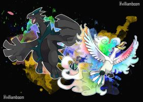 Lugia and Ho-Oh by villi-c