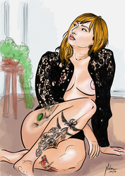 Tattoed woman by mnetto