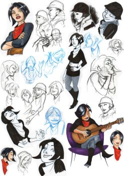girl sketches by Freddy-Leal