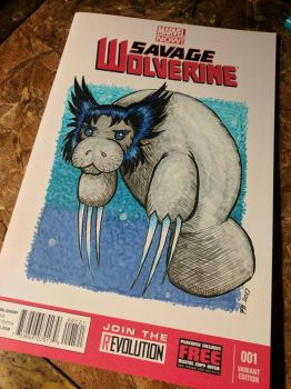 Custom Comic Cover: Manatee Wolverine by benwhoski