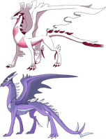 Custom Themed Dragons: Shiny and Shadow Lugia by Eternity9
