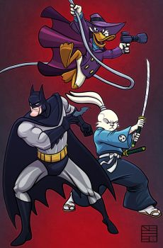 Batman Darkwing Duck and Usagi Yojimbo Team Up by IADM