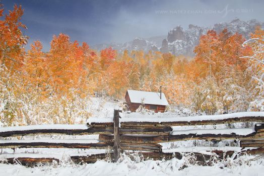 First Snow at the Cabin by Nate-Zeman