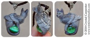 Grey Angel Cat Pendant by soulofwinter