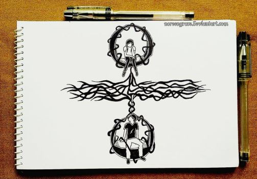 Between The Gaps (Divided) (Inktober 2017: #2) by NoreenGrace