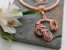 Celestial - Labradorite and copper necklace by AbbyHook