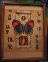 Chinese Butterfly Cross-stitch by Kitsune-Claws