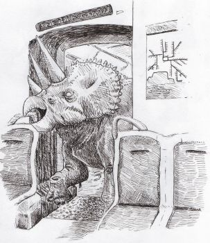 Triceratops on a Train by mattwebb
