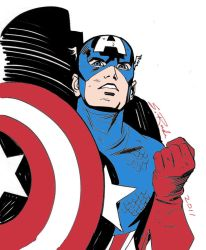 Captain America Drawn by Steve Rude (Colorized) by EthanJames93
