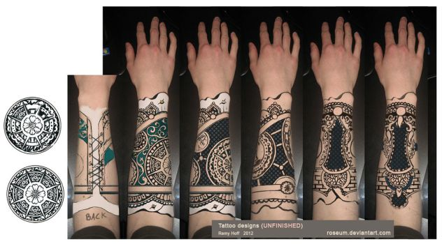 Tattoo Designs (unfinished) by Roseum