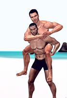 Shepard And Alenko At The Beach by TombRaiderShock