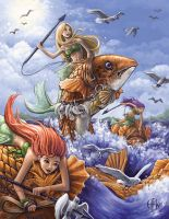 Mermaid Fish Riders by AlvinHew