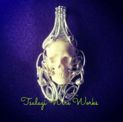 sterling silver wire wrapped skull pendant by halogirlie