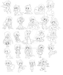 Monster Girl Chibis by 9aia