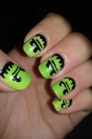 Frankenstein nails by LittleMissTass