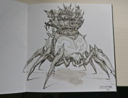 Inktober Day 10: Gigantic spider by Jordy-Knoop