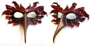 Cardinal leather mask in scarlet and bronze by shmeeden